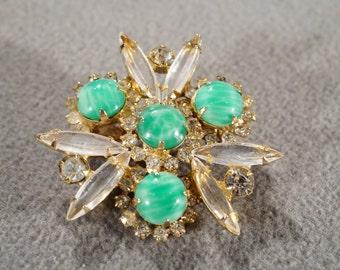 Vintage Art Deco Style Yellow Gold Tone Rhinestones Green Marbelized Glass Stones Pin Brooch Jewelry    K