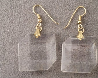 Vintage Art Deco Style Yellow Gold Tone Euro Wire Glass Stone Lucite Square Pierced Earrings Jewelry   K