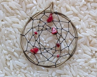 Red Coral Dream Catcher Pendent