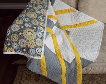 Modern Grey and Yellow Throw