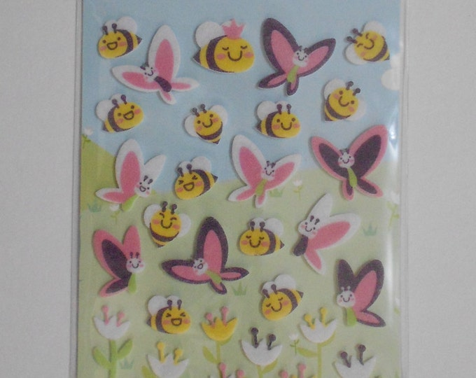 Kawaii Felt Butterfly and Bee Stickers