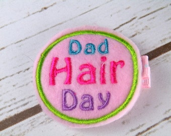 Dad hair day hair clip, felt hair accessory, bad hair day hair clip, pink felt hair clip, girls felt hair clips, UK seller