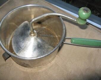 SALE  Vintage Green handled Foley Food Mill, Masher, Green vintage housewares, Applesauce