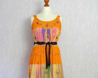 Vintage Bohemian Dress. Orange Boho Dress. Tunic, Hippie Dress, Party Dress. Boho Festival Clothing