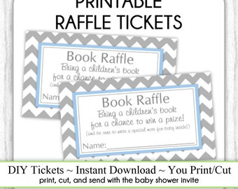 INSTANT DOWNLOAD - Book Raffle Tickets, Gray and Blue Chevron Baby Shower Raffle Tickets, You Print, DIY