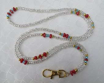 Transparent (Clear) with Red Coral gemstone, Light Blue Glass beads and Gold Lanyard. Handmade Beaded ID Badge Holder. Necklace ID Holder.