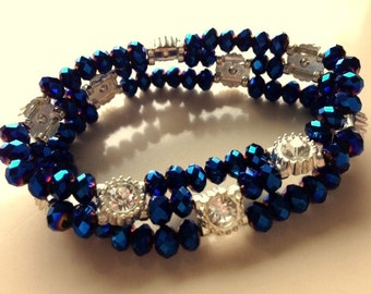Blue Crystal and Rhinestone Stretch Bracelet - Holiday or Halloween Costume Jewelry