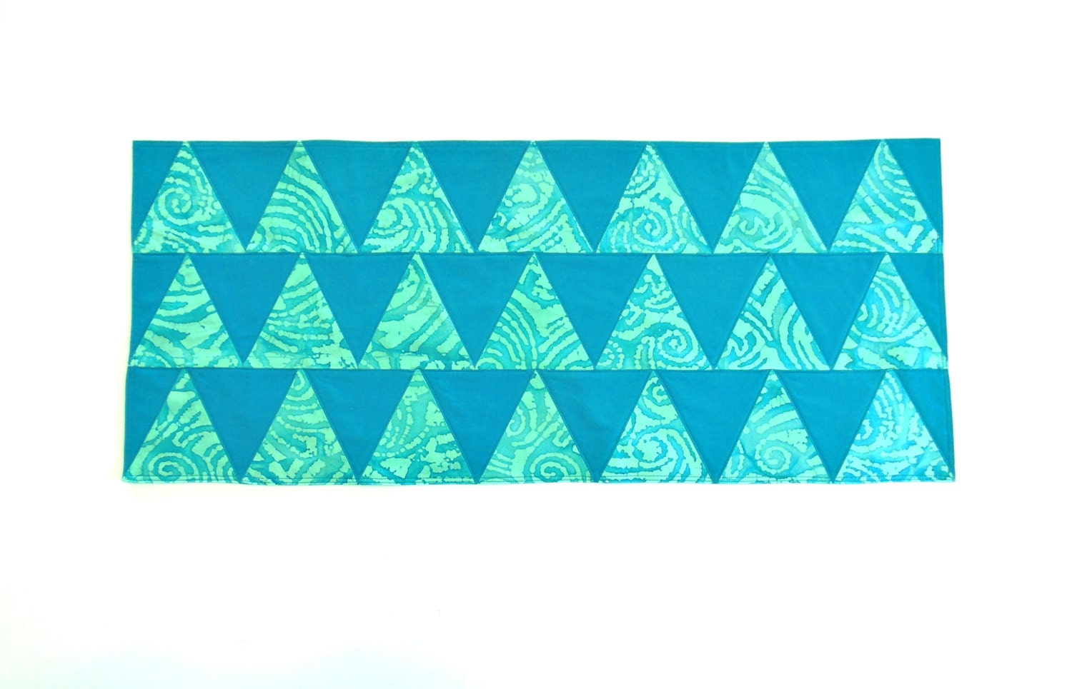 Teal Batik Table Runner Quilted Turquoise Teal Kitchen Decor