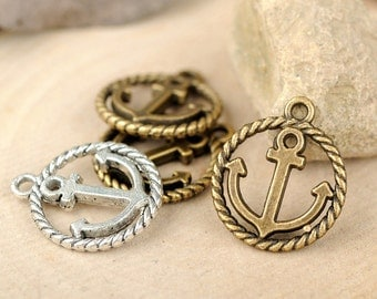 DIY 25 pcs antique bronze or silver boat anchor  charm pendant  18x15mm
