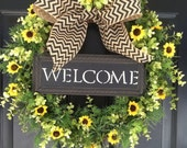 Sunflower Wreath - Welcome Wreath - Boxwood Chevron Wreath - Spring Wreath - Summer Wreath - Housewarming Gift - Mothers Day Wreath - Gifts