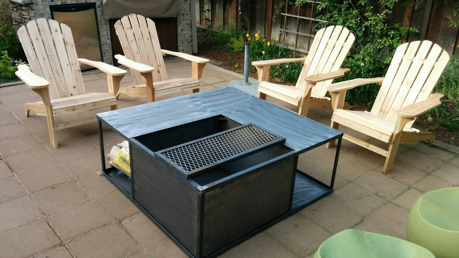 Fire Pit with Wood Storage 36x36 by FenomFab on Etsy