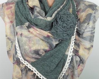 Floral Scarf Shawl Gray Scarf Women Fashion Accessories Warm Fall Winter Fashion Scarf Sale Scarf Holiday Christmas Gifts For Her For Mom
