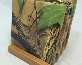 """HANDMADE """"Forest Camo"""" Drink Coasters 