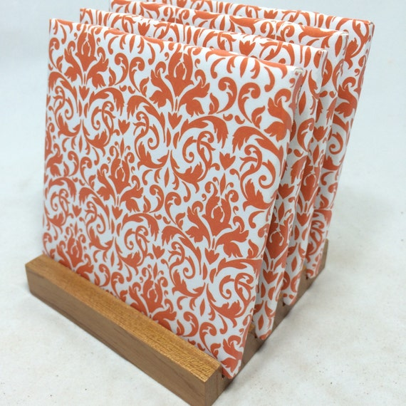 Handmade orange damask drink coasters set of for Handmade drink coasters
