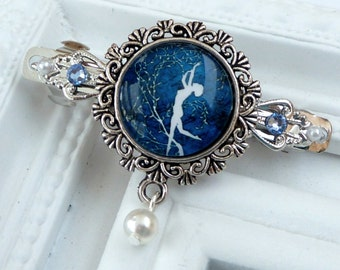Small Barrette in blue silver with dancing woman and tree, antique barrette
