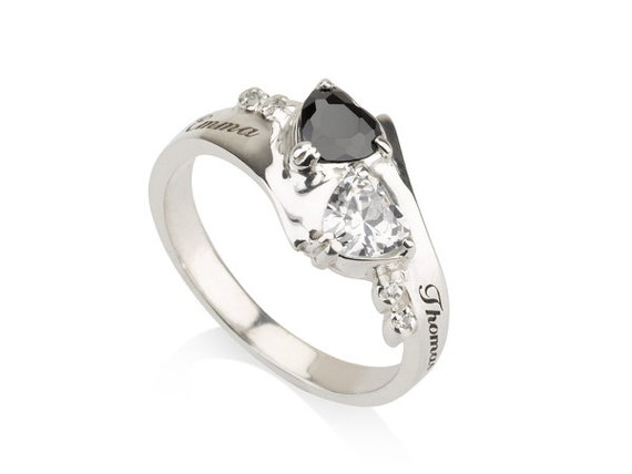 items similar to engraved promise ring couples birthstone