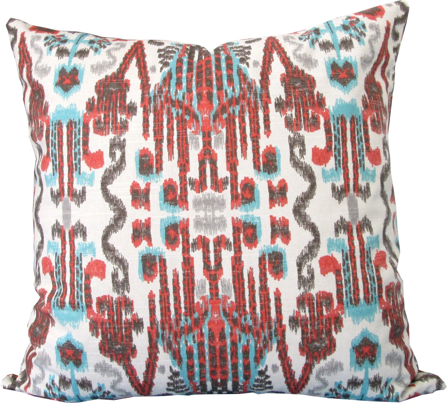 Blue Coral Throw Pillow : Decorative Pillow Cover-Coral and Blue Ikat-Accent Pillow-Sofa