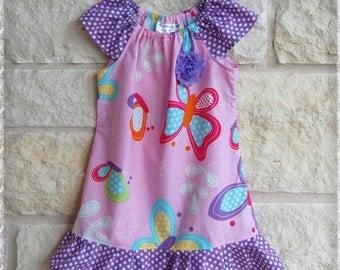 Girls butterfly dress**Spring summer dress**Toddler dress**Peasant dress**Ruffle dress**Pink, purple, butterflies**Size 1, 2t, 3t,4t 5t 6 7