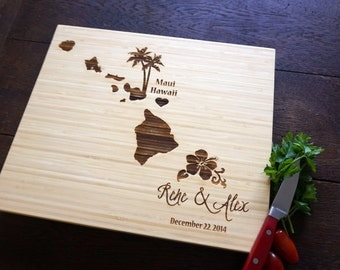 Custom Cutting Board Hawaii Destination Wedding Present Tropical Decor Personalized Wedding Present Bridal Shower Gift
