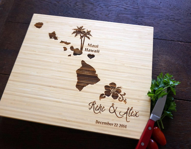 Hawaiian Wedding Gift Ideas: Custom Cutting Board Hawaii Destination Wedding Present