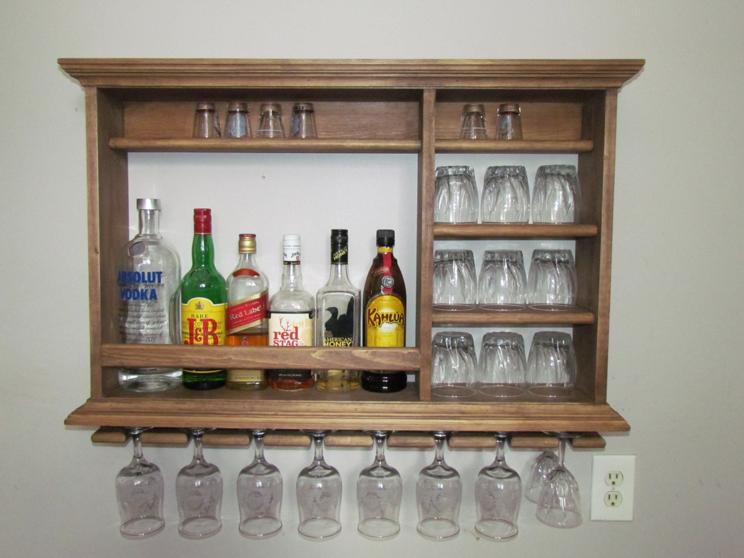 Mini bar walnut stain 3 39 x2 39 minimalist style wine for How to build a wall bar
