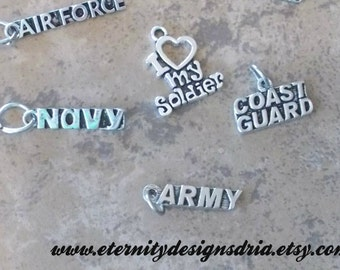 Add a Pewter Military Charm to your Handstamped Item