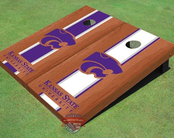 Corn Hole NCAA Kansas State University Wildcats Word Mark Alternating Rosewood Long Stripe Cornhole Boards KSU 10119