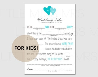 Kids Wedding Libs - marriage advice from the Kids table! // Printable mad lib wedding advice cards