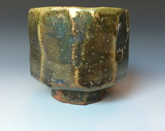 Faceted Tea cup, Wine cup, Yunomi, Stoneware Ceramic Pottery