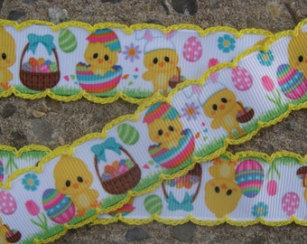 "3 yards Crochet Edge Easter Ribbon Printed Ribbon Easter Color Eggs Ribbon 7/8""  Hair bow ribbon#001"