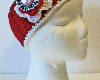 Trendy Crimson and Houndstooth Alabama Inspired Hand Crocheted Headband Ear Warmer Child & Adult Sizes Available
