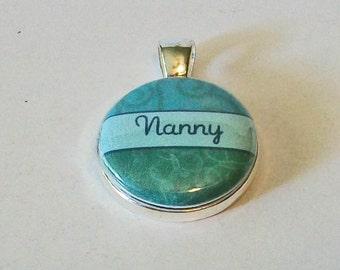 So Pretty Teal Swirls Nanny Grandmother Round Silver Pendant