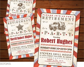 Vintage Retirement Party Printable Invitation / Anniversary Celebration / Doublesided Digital Invitation