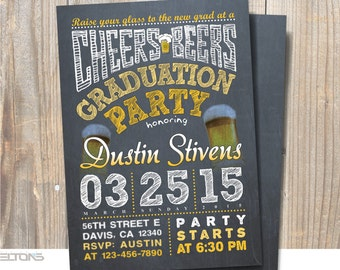Graduation Invitation, Beers and Cheers Graduation Party Announcement, Custom College Color, Chalkboard Graduation Invitation
