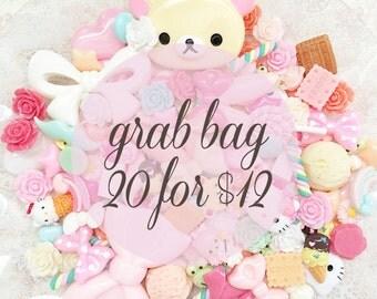 20 Cabochon Grab Bag - Kawaii Cabochons - Fairy Kei Hime - Miniature Sweets Resin - Decoden - Flatback Pastel Cabochons - DIY Project