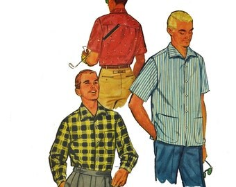 Vintage 50s Mens Shirt Pattern . Long Sleeve Button Shirt Pattern . Short Sleeve Sports Shirt Pattern 1950s Simplicity 1407 Chest 38 - 40