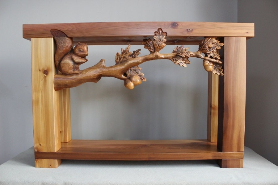 Hand carved sofa table book case handmade furniture