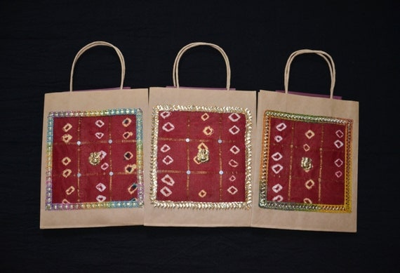 Indian Wedding Favor Bags Uk : Gift Bags, Indian Wedding Gift Bags, Kraft Gift Bags, Red silk Bags ...