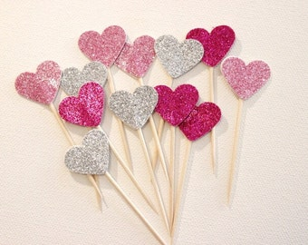 Cupcake Toppers. Hot Pink, Light Pink and Silver Glitter Hearts. Pack of Twelve. Wedding - Engagement - Formal Function