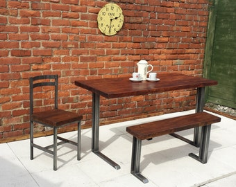 Dining table and bench with unique L shaped frame industrial chic