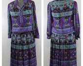 Vintage 70s Boho Bohemian Hippie Floral Dress 2 Piece High Waist Skirt and Long Sleeve Blouse Womens Clothing Dresses Medium Large