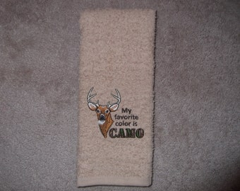 Embroidered ~My FAVORITE Color is CAMO~ Kitchen Bath Hand Towel