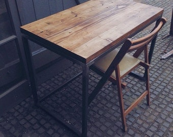 "Reclaimed Wood ""Helden"" Scaffold Writing Desk With Steel Frame"