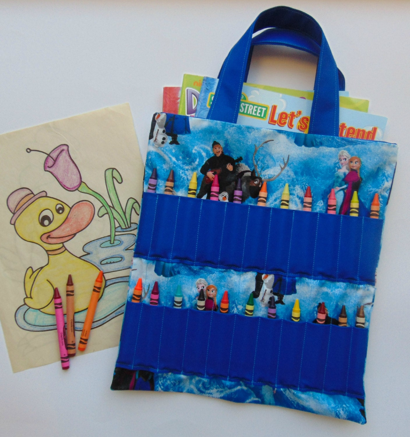 Frozen Coloring Book And Crayon Holder Bag Tote By