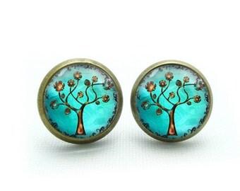 copper tree earrings tree stud earrings jewelry- with free jewelry box