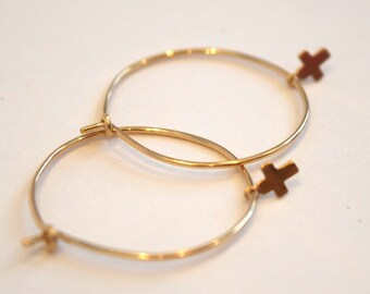 Gold Hoop Earrings, Tiny Cross Earrings, Dainty Gold Cross Earrings, Cross Dangle Earrings, Gold Cross Hoops, Simple Earrings, Gold Hoops