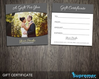Photographer Gift Certificate Template - Wedding Photography Gift Certificate Card PSD Photoshop Templates for Photographers GC004
