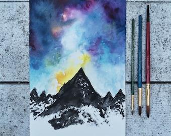 Watercolor Mountain & Sky
