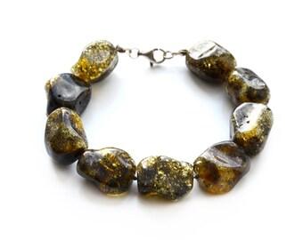 Baltic amber green bracelet // large amber beads // green amber // Baltic amber with sterling clasp // Amber bracelet for women // 0604