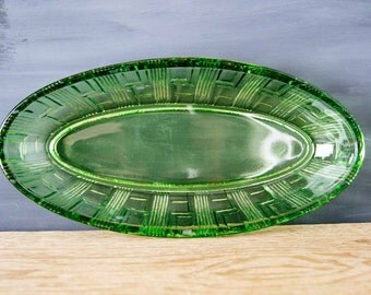 Vintage Soviet Era USSR Green Glass Serving Dish/Platter
